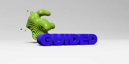 banner ad: GUIDED - 3D rendered colorful headline illustration.  Can be used for an online banner ad or a print postcard.