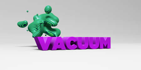 VACUUM - 3D rendered colorful headline illustration.  Can be used for an online banner ad or a print postcard.