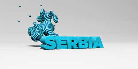 SERBIA - 3D rendered colorful headline illustration.  Can be used for an online banner ad or a print postcard. Imagens