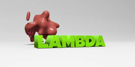 sentence typescript: LAMBDA - 3D rendered colorful headline illustration.  Can be used for an online banner ad or a print postcard.