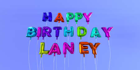 Happy Birthday Laney card with balloon text - 3D rendered stock image. This image can be used for a eCard or a print postcard.