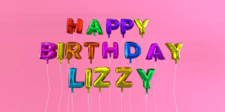 ecard: Happy Birthday Lizzy card with balloon text - 3D rendered stock image. This image can be used for a eCard or a print postcard.