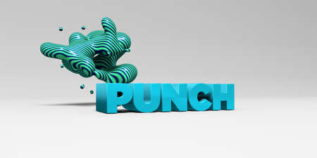punch: PUNCH - 3D rendered colorful headline illustration.  Can be used for an online banner ad or a print postcard.