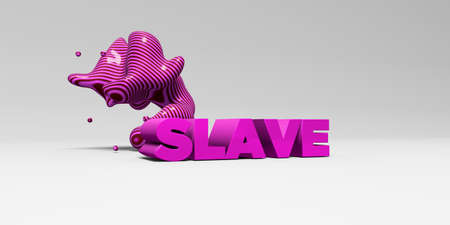 banner ad: SLAVE - 3D rendered colorful headline illustration.  Can be used for an online banner ad or a print postcard.