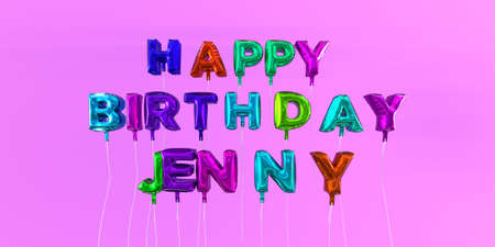 Happy Birthday Jenny card with balloon text - 3D rendered stock image. This image can be used for a eCard or a print postcard. Stock Photo