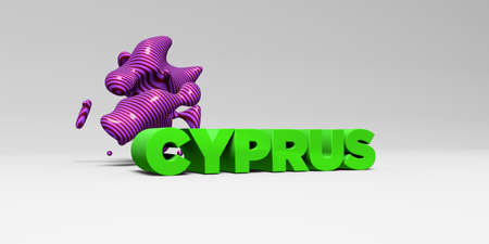 CYPRUS - 3D rendered colorful headline illustration.  Can be used for an online banner ad or a print postcard. Imagens