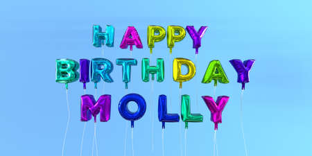 Happy Birthday Molly card with balloon text - 3D rendered stock image. This image can be used for a eCard or a print postcard.