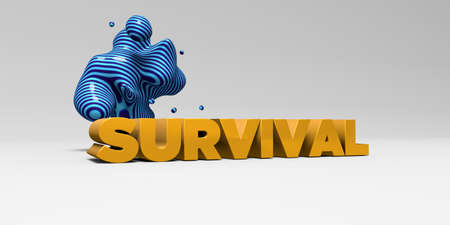 survival: SURVIVAL - 3D rendered colorful headline illustration.  Can be used for an online banner ad or a print postcard.