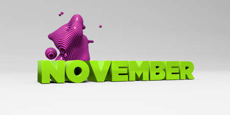 november 3d: NOVEMBER - 3D rendered colorful headline illustration.  Can be used for an online banner ad or a print postcard. Stock Photo