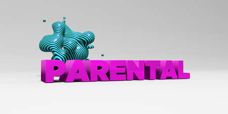 sentence typescript: PARENTAL - 3D rendered colorful headline illustration.  Can be used for an online banner ad or a print postcard.
