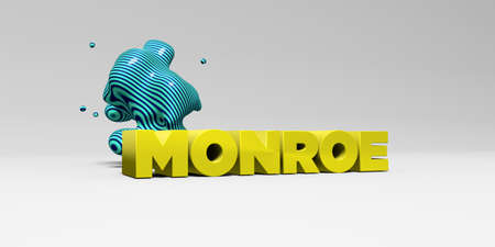 MONROE - 3D rendered colorful headline illustration.  Can be used for an online banner ad or a print postcard.