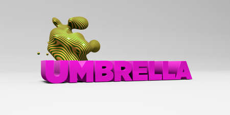 sentence typescript: UMBRELLA - 3D rendered colorful headline illustration.  Can be used for an online banner ad or a print postcard.