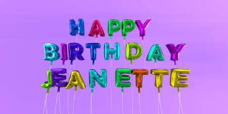 Happy Birthday Jeanette card with balloon text - 3D rendered stock image. This image can be used for a eCard or a print postcard.