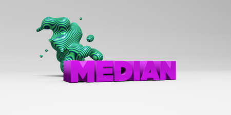 median: MEDIAN - 3D rendered colorful headline illustration.  Can be used for an online banner ad or a print postcard.