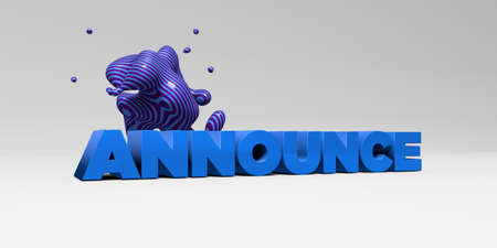 banner ad: ANNOUNCE - 3D rendered colorful headline illustration.  Can be used for an online banner ad or a print postcard.