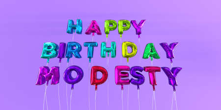 Happy Birthday Modesty card with balloon text - 3D rendered stock image. This image can be used for a eCard or a print postcard.
