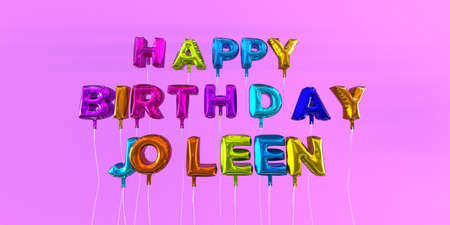 Happy Birthday Joleen card with balloon text - 3D rendered stock image. This image can be used for a eCard or a print postcard.