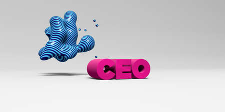 ceo: CEO - 3D rendered colorful headline illustration.  Can be used for an online banner ad or a print postcard.