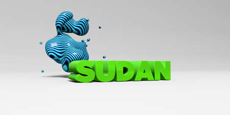 SUDAN - 3D rendered colorful headline illustration.  Can be used for an online banner ad or a print postcard.