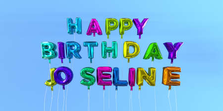 ecard: Happy Birthday Joseline card with balloon text - 3D rendered stock image. This image can be used for a eCard or a print postcard. Stock Photo