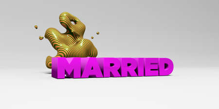 MARRIED - 3D rendered colorful headline illustration.  Can be used for an online banner ad or a print postcard.