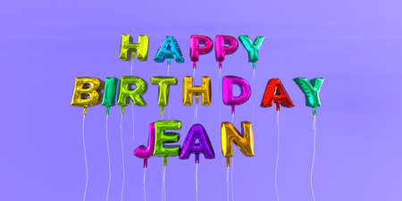 ecard: Happy Birthday Jean card with balloon text - 3D rendered stock image. This image can be used for a eCard or a print postcard.