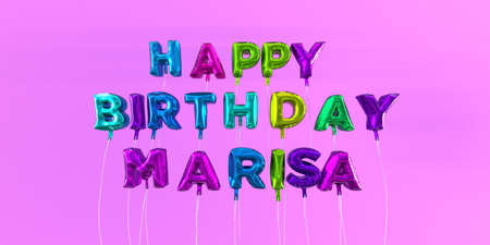 Happy Birthday Marisa card with balloon text - 3D rendered stock image. This image can be used for a eCard or a print postcard. Stock Photo - 66512780