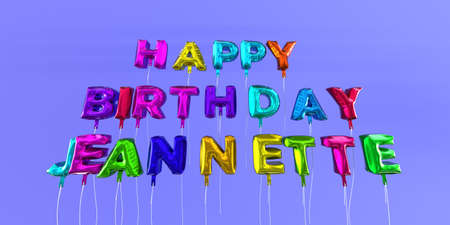 Happy Birthday Jeannette card with balloon text - 3D rendered stock image. This image can be used for a eCard or a print postcard. Stock Photo - 66354769