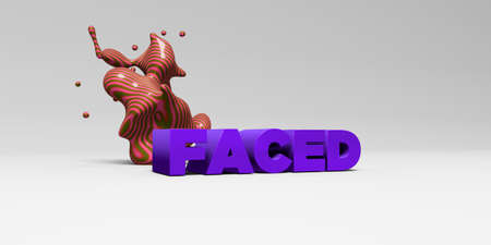 FACED - 3D rendered colorful headline illustration.  Can be used for an online banner ad or a print postcard.