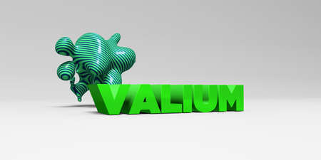 VALIUM - 3D rendered colorful headline illustration.  Can be used for an online banner ad or a print postcard. Stock Photo