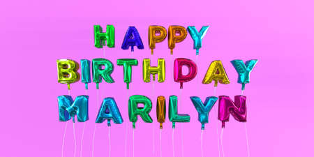 Happy Birthday Marilyn card with balloon text - 3D rendered stock image. This image can be used for a eCard or a print postcard.