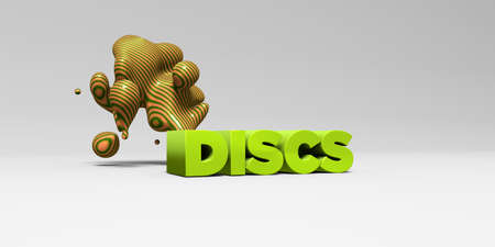 discs: DISCS - 3D rendered colorful headline illustration.  Can be used for an online banner ad or a print postcard. Stock Photo