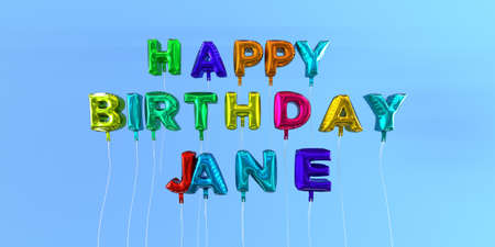 Happy Birthday Jane card with balloon text - 3D rendered stock image. This image can be used for a eCard or a print postcard.