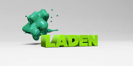 laden: LADEN - 3D rendered colorful headline illustration.  Can be used for an online banner ad or a print postcard.