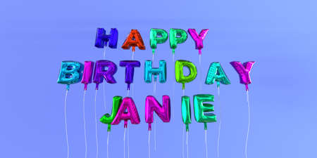 Happy Birthday Janie card with balloon text - 3D rendered stock image. This image can be used for a eCard or a print postcard. Stock Photo - 66512808