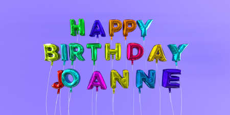 ecard: Happy Birthday Joanne card with balloon text - 3D rendered stock image. This image can be used for a eCard or a print postcard. Stock Photo