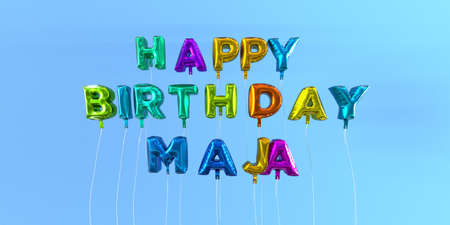 Happy Birthday Maja card with balloon text - 3D rendered stock image. This image can be used for a eCard or a print postcard. Stock Photo