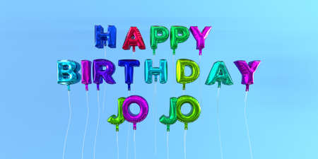 ecard: Happy Birthday Jojo card with balloon text - 3D rendered stock image. This image can be used for a eCard or a print postcard. Stock Photo