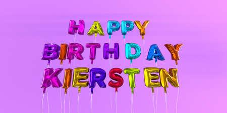 풍선 텍스트 -3D 렌더링 된 재고 이미지와 행복 한 생일 Kiersten 카드. 이 이미지는 eCard 또는 인쇄 엽서에 사용할 수 있습니다.