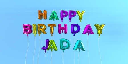 Happy Birthday Jada card with balloon text - 3D rendered stock image. This image can be used for a eCard or a print postcard. Stock Photo - 66356429