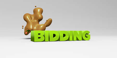 online bidding: BIDDING - 3D rendered colorful headline illustration.  Can be used for an online banner ad or a print postcard.