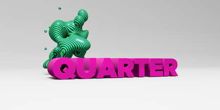 QUARTER - 3D rendered colorful headline illustration.  Can be used for an online banner ad or a print postcard. Stock Photo
