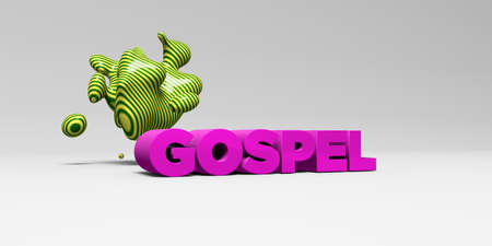 gospel: GOSPEL - 3D rendered colorful headline illustration.  Can be used for an online banner ad or a print postcard.