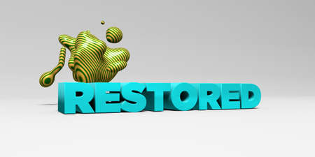 restored: RESTORED - 3D rendered colorful headline illustration.  Can be used for an online banner ad or a print postcard. Stock Photo