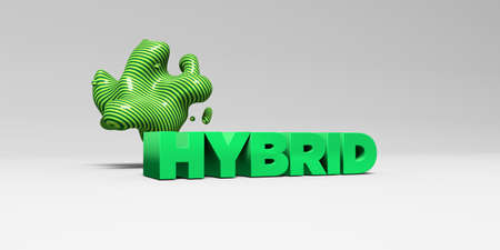 hybrid: HYBRID - 3D rendered colorful headline illustration.  Can be used for an online banner ad or a print postcard.