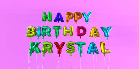 Happy Birthday Krystal card with balloon text - 3D rendered stock image. This image can be used for a eCard or a print postcard. Stock Photo - 66514686