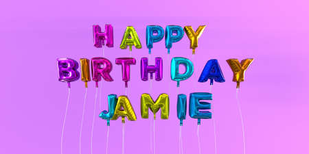 Happy Birthday Jamie card with balloon text - 3D rendered stock image. This image can be used for a eCard or a print postcard.