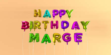 marge: Happy Birthday Marge card with balloon text - 3D rendered stock image. This image can be used for a eCard or a print postcard.