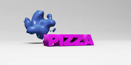 3d pizza: PIZZA - 3D rendered colorful headline illustration.  Can be used for an online banner ad or a print postcard. Stock Photo