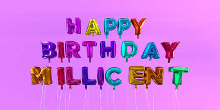 Happy Birthday Millicent card with balloon text - 3D rendered stock image. This image can be used for a eCard or a print postcard. Stock Photo